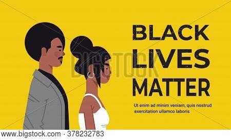African American Man Woman Against Racial Discrimination Black Lives Matter Concept Social Problems