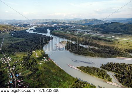 Village In Russia, Altai Mountains, Houses And Katun River. Top View Of The Mountain River In The Al