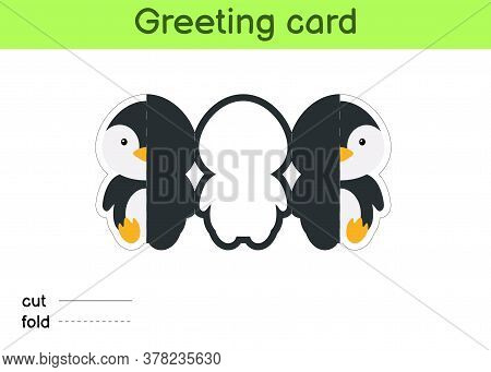 Cute Penguin Fold-a-long Greeting Card Template. Great For Birthdays, Baby Showers, Themed Parties.