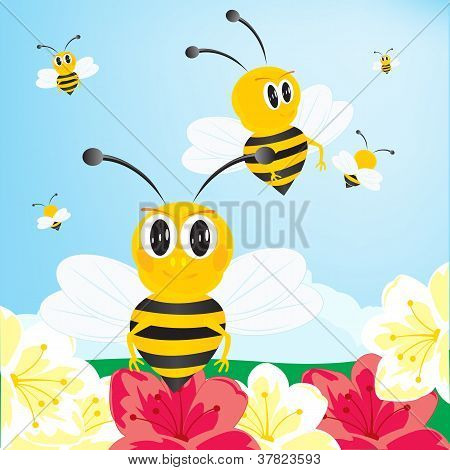 Bees collect honey with flower.Much bees collect honey poster
