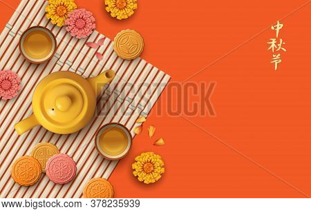 Mid Autumn Festival. Tea Party Vector Illustration. Translation Of Chinese Characters - Mid Autumn F
