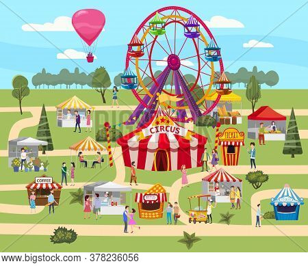 Amusement Park Outdoor Festival Curcus Tent Ferris Wheel Tents Canopy Fast Food And Drinks. Visitors