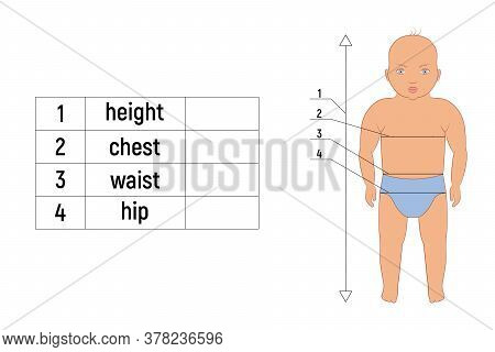 Caucasian Baby Body Measurements For Tailoring And Sewing. Table With Waist, Chest And Hips Measurin