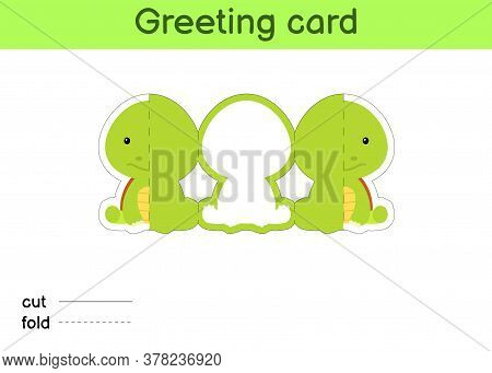 Cute Turtle Fold-a-long Greeting Card Template. Great For Birthdays, Baby Showers, Themed Parties. P