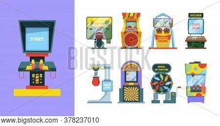 Game Arcade Machine Set. Electronic Gaming Machine With Joysticks Screen Laser Pistol Duel Colorful
