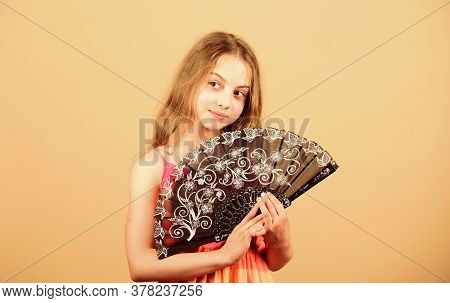 Fanning Suffering Heat. Small Girl Child Use Fan. Small Girl With Lace Black Fan. Fashion Accessory.