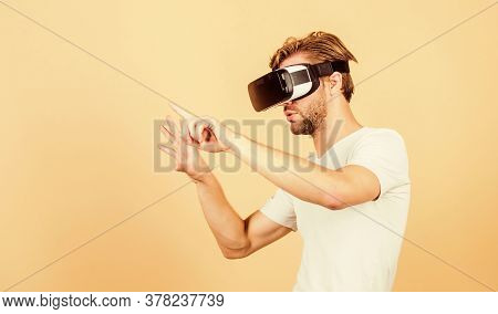 Virtual Simulation. Man Play Game In Vr Glasses. Explore Cyber Space. Man Hipster Virtual Reality He