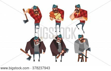 Lumberjack In Different Poses Set, Strong Woodcutter Cartoon Character Style Vector Illustration On