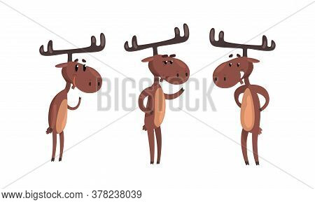 Set Of Funny Brown Moose In Various Poses Set, Cute Wild Forest Animal Cartoon Character Standing On