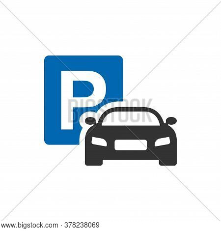 Car Parking Sign Icon On Isolated White Background. Car Parking Simple Vector Modern Icon Design Ill