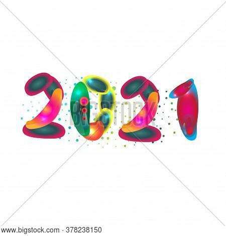 2021 Written Date Illustration. Year 2021 Vector Concept Image