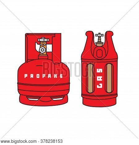 A Set Of Gas Cylinders On A White Background. Gas Cylinders The Vector. Propane And Butane Gas In Me