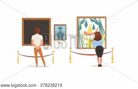 Back View Of Exhibition Visitors Viewing Modern Abstract Paintings, People Visiting Art Exhibition G