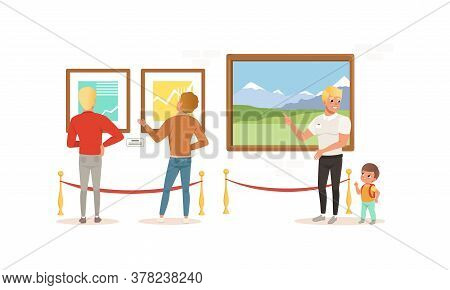 Exhibition Visitors Viewing Paintings At Art Exhibition Gallery Or Museum Cartoon Style Vector Illus