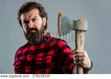 Woodcutter In A Plaid Shirt. Lumberjack Brutal Bearded Man In Red Checkered Shirt. Concept Of Shavin