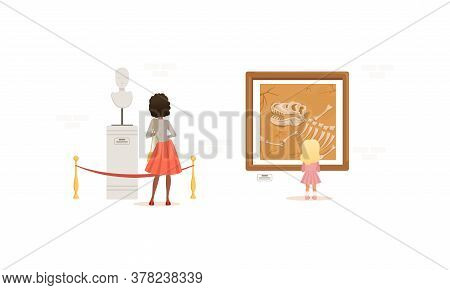 Exhibition Visitors Viewing Exhibits In Archaeological Museum Cartoon Style Vector Illustration