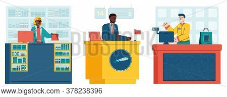 Cashiers And Receptionists Men And Women Cartoon Characters At Workplace At A Counter Desk, Flat Car