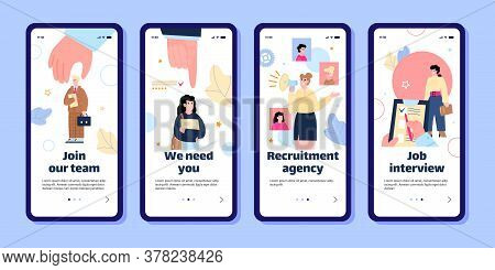 Employee Recruitment And Job Interview App Banner Set - Smartphone Screens With Work Candidate Searc