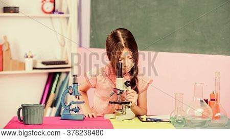 Girl Biology Class Testing Tubes. Science Lesson. School Laboratory. Small Girl With Microscope. Sci