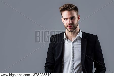 Boss Male. Sexy Ceo On Gray Background. Modern Office Life. Charismatic Business Owner. Stylish Real