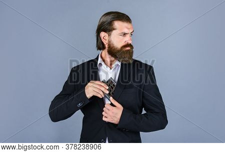 Looking Away. Brutal Businessman Drinking Alcohol. Man With His Booze Flask. Man Drinks Strong Alcoh