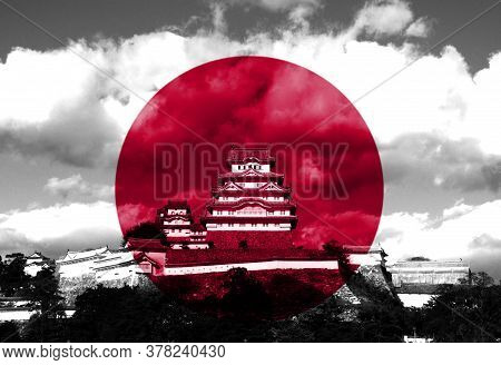Japanese Flag Overlay On Himeji Castle. Himeji Castle Also Known As White Heron Castle.