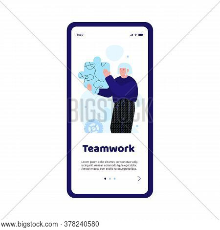 Person Holding Puzzle Piece - Business Teamwork Concept For Mobile Phone App Onboarding Banner. Cart