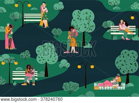 Romantic Couples In Love Hugging In Nighty Park Landscape, Flat Cartoon Vector Illustration. Young M