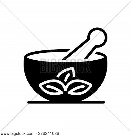 Black Solid Icon For Medical-herbs Mortar Pestle Ayurveda Homemade Traditional-therapy Treatment Med
