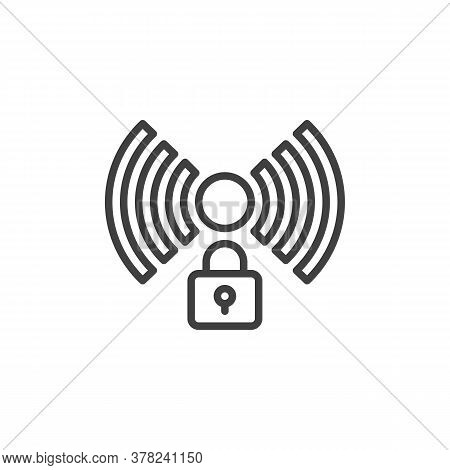 Wi-fi Network Security Line Icon. Wireless Connection Secured Linear Style Sign For Mobile Concept A