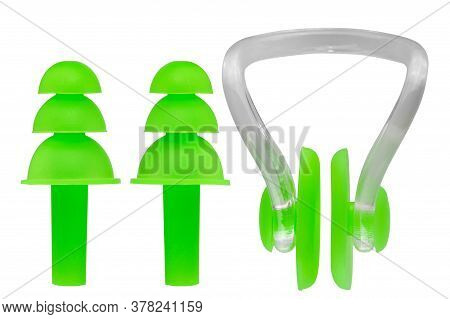 Green Silicone Ear Plugs And Nose Clip Clip, Swim Kit, On White Background