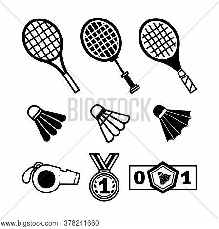 Set Of Badminton Elements: Shuttlecock, Racket, Medal, Whistle. Bundle Of Vector Flat Line Icons Iso
