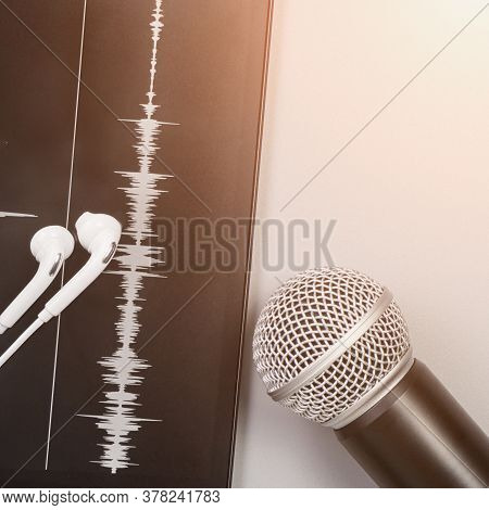 Podcast Record. Microphone, Headphone And Sound Track At Tablet. Grey Monochrome. Audiobook And Podc
