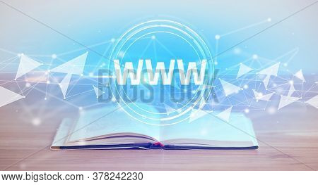 Open book with WWW abbreviation, modern technology concept