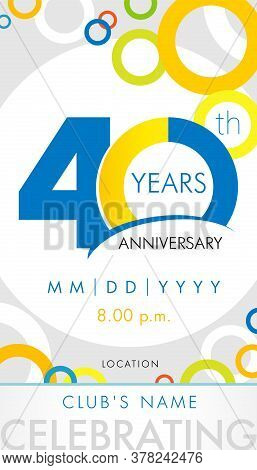 40 years anniversary birthday card. 40th jubilee number vector design with colored chart circle background