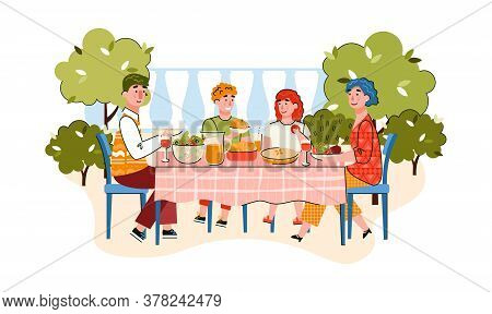 Family Of Parents And Children Eating In Garden Or House Backyard, Cartoon Vector Illustration Isola