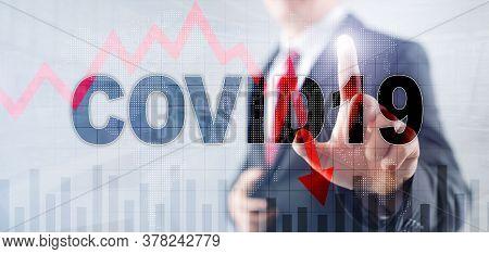 Reduce Morbidity Coronavirus Virtual Screen. Covid19 On Abstract Mixed Media Background.