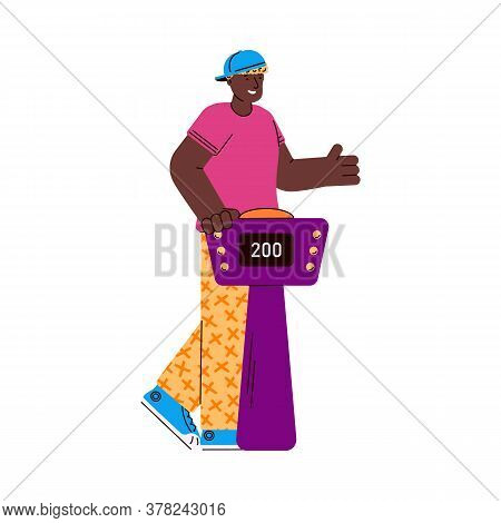 Tv Quiz Show Player African American Male Character Answering Questions Standing At Stand With Butto