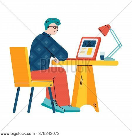 Man Watching Video On Laptop - Online Education Concept With Cartoon Guy Sitting Behind Study Desk A