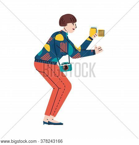 Photographer Cartoon Character Taking A Photo Or Video Shoot Using Camera, Flat Vector Illustration