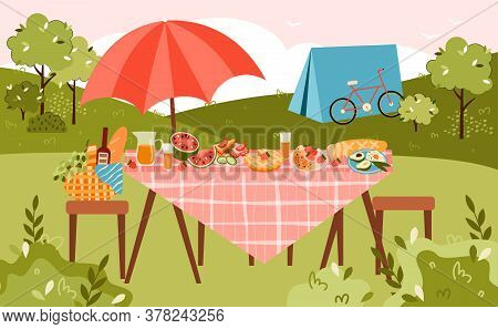 Summer Picnic And Camping Banner With Table Served For Eating On Nature And Camp Tent, Flat Vector I