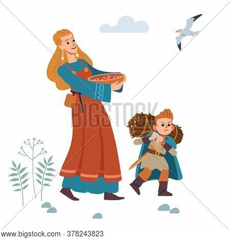 Medieval Viking Family. Mother And Son Are Engaged In Agriculture. Mother Gathered Berries, And Son