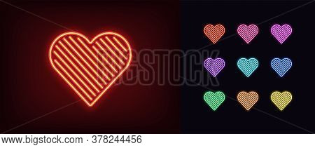Neon Heart Icon. Glowing Neon Heart Sign With Line Texture, Amour Shape In Vivid Colors. Romantic Si