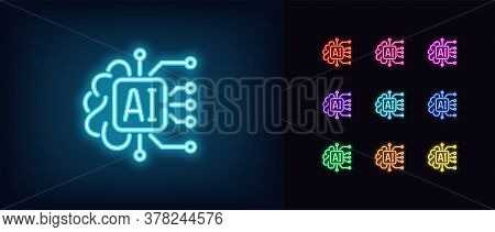Neon Ai Icon. Glowing Neon Artificial Intelligence Sign, Digital Mind In Vivid Colors. Big Data, Dee