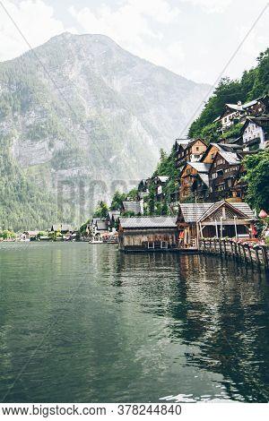 Landscape View Of Hallstatt City In Austrian Alps