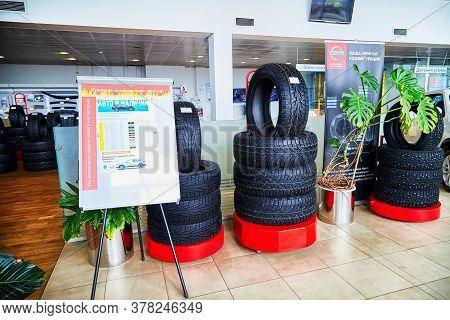 Kirov, Russia - May 07, 2019: Tyre In Showroom Of Dealership Nissan In Kirov