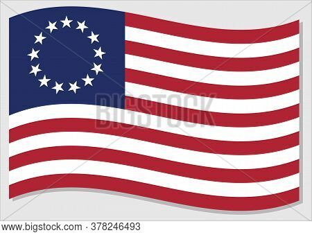 Waving Flag Of United States Vector Graphic. First Waving American Flag Illustration Called Betsy Ro