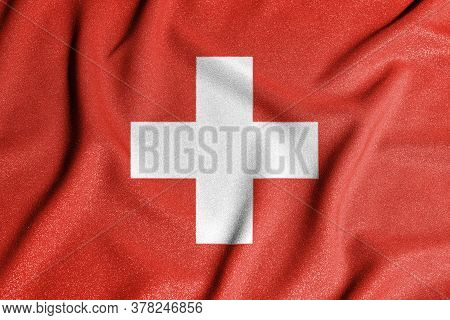 National Flag Of The Switzerland. The Main Symbol Of An Independent Country. Flag Of Switzerland. An