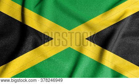 National Flag Of The Jamaica. The Main Symbol Of An Independent Country. Flag Of Jamaica. An Attribu