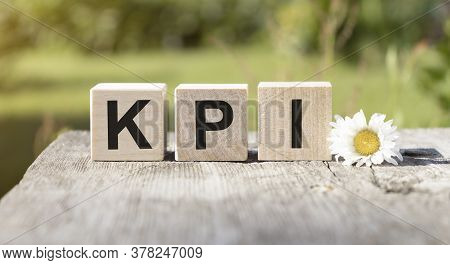 Kpi Concept On Wooden Cubes And Flower In A Pot In The Background